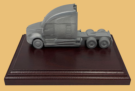 Trucking trophy safe driver award on wood plaque