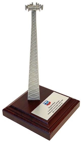 Tower award for cellular telecommunications gift plaque for Crown Castle International, SBA Communications