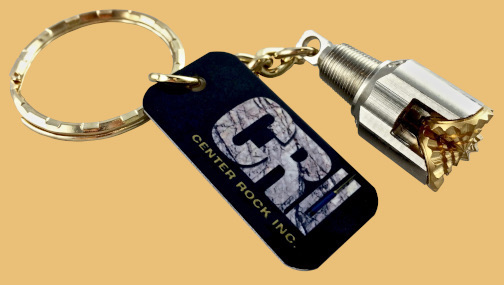 Center rock drilling bit keychain with personalized logo engraving
