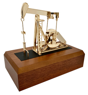 Gold plated miniature working pump jack model battery powered
