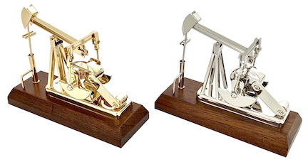 Mini oilfield oil well gold pump jack pumping unit model gift award with engraving