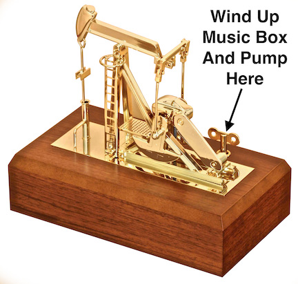 Gold oil well pump jack model music box executive oilfield gift