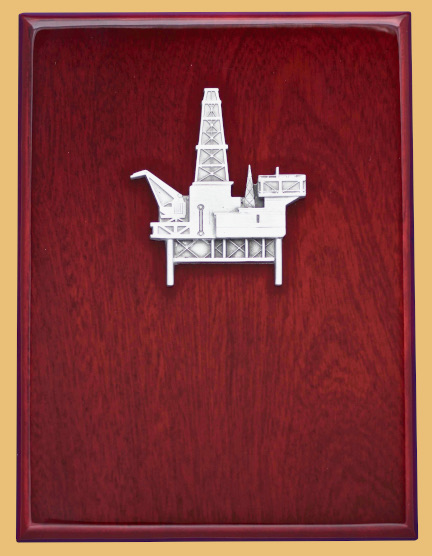 Offshore oilfield awards oil and gas drilling platform plaque with custom engraving