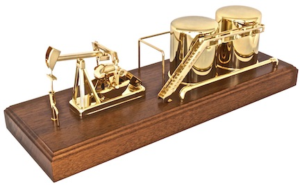 Oilfield oil well pumping unit model gift award gold plated