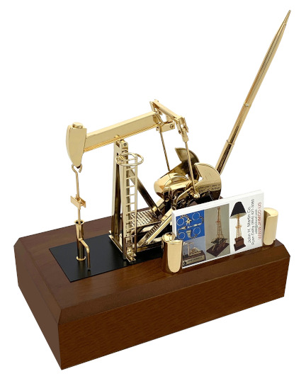 Oilfield deal toy gold pump jack business card holder oil well model with pen