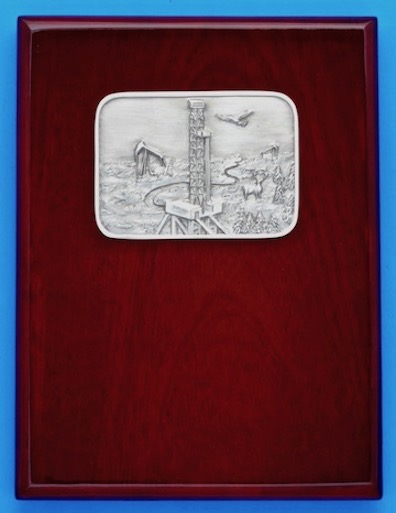 Oilfield award plaque with oil well drill rig derrick recognition gift