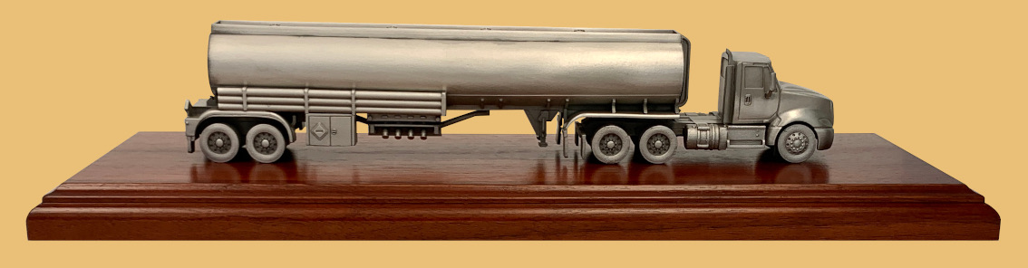 Trophy award gifts model of petroleum hauler trailer for downstream oil industry.